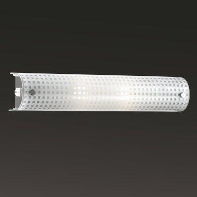 Светильник бра с выкл Сонекс 2342 хром/белый ALPIНакладные<br><br><br>S освещ. до, м2: 5<br>Тип лампы: накаливания / энергосбережения / LED-светодиодная<br>Тип цоколя: E14<br>Цвет арматуры: серебристый<br>Количество ламп: 2<br>Ширина, мм: 450<br>Высота, мм: 70<br>MAX мощность ламп, Вт: 40