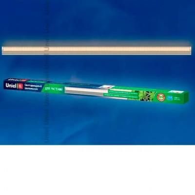 UNIEL ULI-P11-35W/SPFR Светильник для растенийДля растений<br>Светильники предназначены для ускорения роста и развития растений, рассады и плодов, а также для основного освещения растений. Освещение с помощью ULI-P позволяет растениям эффективно пройти полный цикл развития — от проращивания семян до плодоношения.<br>Светильник ULI-P обладает уникальным спектральным составом света, повторяющим спектр, необходимый для фотосинтеза растений. Светильник может использоваться в жилых помещениях без экранирования, в отличие от люминесцентных и других светильников с сине-красным спектром, неприятным для глаз.<br>Преимущества светильника серии ULI-P11:<br><br>Может использоваться для основного освещения растений<br>На 43% эффективнее светильников для растений на основе синих и красных светодиодов<br>Приятное для глаз свечение, не требует экранирования<br>Не нагревает воздух<br>Подходит для всех видов растений<br>Аксессуары для монтажа, соединения и шнур 1,2 м для подключения в комплекте<br>Возможно последовательное соединение до 10 светильников<br>При освещении люминесцентными лампами с сине-красным спектром свечения растения достигают лишь стадии цветения.<br>ULI-P на 70% эффективнее аграрных натриевых ламп, у которых только треть затраченной энергии преобразуется в эффективное для фотосинтеза излучение.<br>За счет полного спектра, требующегося для фотосинтеза, светильник ULI-P на 43% эффективнее светильников для растений на основе синих и красных светодиодов.<br><br><br>Вес: 0.416 кг.<br>Последовательное соединение, шт.: lt;10<br>Площадь освещения, м2: h-0,6м=5м2, h-0,8м=6,6м2<br>Фотосинтетический фотонный поток, мкмоль/c: 39<br>Цвет корпуса: серебряный<br>Размеры, мм: 1183x27x33<br>Материал корпуса: Алюминий/пластик<br>Коэффициент мощности: 0,85<br>Источник света: LED SMD<br>Индекс цветопередачи, Ra: 70<br>Мощность, Вт: 35<br>Частота, Гц: 50<br>Цветовая температура, К: 5000<br>Угол светового потока, °: 100<br>Тип индивидуальной упаковки: картон<br>Срок службы, ч: 50000<br>