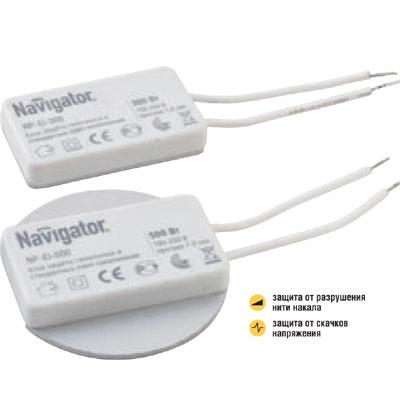 Устройство защиты Navigator 94 439 NP-EI-500Защита ламп<br>Блоки защиты Navigator серии NP-EI предназначены для предотвращениячастого перегорания галогенных ламп и ламп накаливания и продления ихсрока службы. Блоки  защиты рассчитаны на совместную эксплуатацию слампами накаливания и галогенными лампами на 220 В и 12 В. <br>  Устройство  защищает  лампы  от  скачков  напряжения  и  обеспечиваетплавный  разогрев  нити  накала  во  время  включений,  что  значительнозамедляет процесс износа нити накала. <br>  Блоки  защиты  Navigator  серии  NP-EI  имеют  ряд  конструктивныхособенностей.  Построение  электрической  схемы  на  интегральноймикросхеме  и  элементах  поверхностного  монтажа  позволиломинимизировать  габаритные  размеры  модулей  и  существенно  увеличитьнадежность изделий. <br>  В более мощных моделях применяется радиатор с увеличенной площадьюрассеивания,  что  более  эффективно  снижает  тепловую  нагрузку  внутрикорпуса и, как следствие, увеличивает их срок службы.<br>  Размер корпуса, мм 50*55*10<br>