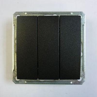 Выключатель Wessen 59 трехклавишный черный бархат (VS0516-351-6-86)Черный бархат<br>250В, 16АХ, скрытой установки, без рамки<br><br>Оттенок (цвет): черный