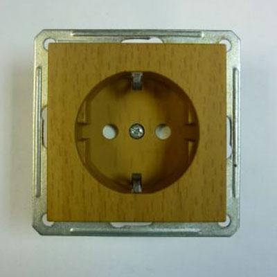 Розетка Wessen 59 одноместная бук с ЗП, с ЗК (RS16-152-8-86)БУК<br>250В, 16А, с защитными пластинами, с защитными контактами<br><br>Оттенок (цвет): под дерево