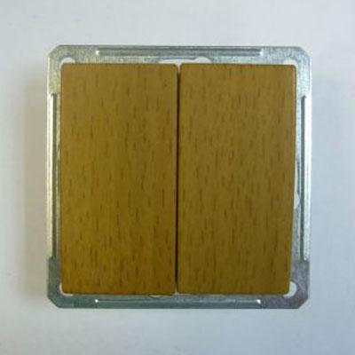 Выключатель Wessen 59 двухклавишный бук (VS516-252-8-86)БУК<br>250В, 16АХ, срытой установки, без рамки<br><br>Оттенок (цвет): под дерево