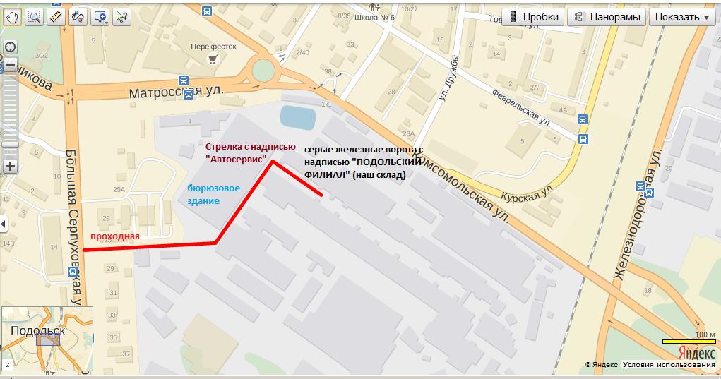 Схема проезда к интернет-магазину Светодом в Подольске