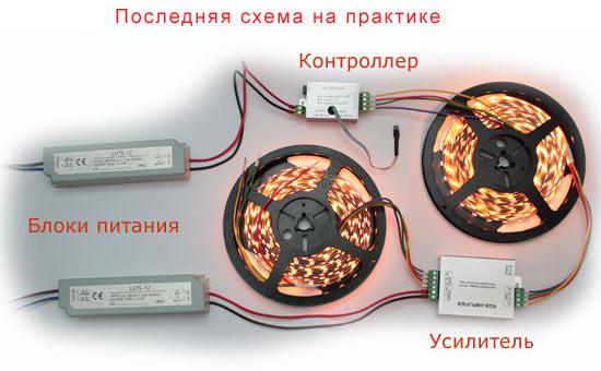 Визуальная схема вживую подключения усилителя для светодиодной ленты