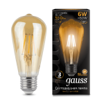 Ретро лампа Gauss LED Filament ST64 E27 6W Golden 550lm 2400К (102802006)