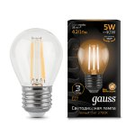 Лампа Gauss LED Filament Шар E27 5W 420lm 2700K (105802105)