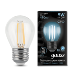 Лампа Gauss LED Filament Шар E27 5W 450lm 4100K (105802205)