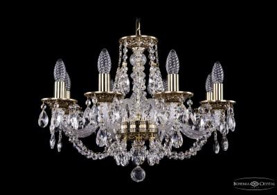 Люстра хрустальная Bohemia Ivele 1606/8/195/GBПодвесные<br><br><br>Установка на натяжной потолок: Да<br>S освещ. до, м2: 21<br>Крепление: Крюк<br>Тип товара: Люстра хрустальная<br>Тип лампы: накаливания / энергосбережения / LED-светодиодная<br>Тип цоколя: E14<br>Количество ламп: 8<br>MAX мощность ламп, Вт: 60<br>Диаметр, мм мм: 580<br>Размеры: Диаметр - 57см<br>Высота, мм: 410<br>Цвет арматуры: золотой с чернением