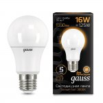 Лампа Gauss LED A60 16W E27 1380lm 3000K (102502116)