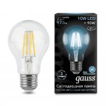 Лампа Gauss LED Filament A60 E27 10W 970lm 4100К step dimmable (102802210)