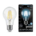 Лампа Gauss LED Filament A60 E27 8W 780lm 4100К (102802208)