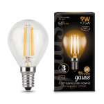 Лампа Gauss LED Filament Шар E14 9W 680lm 2700K (105801109)