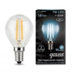 Лампа Gauss LED Filament Шар E14 7W 580lm 4100K step dimmable (105801207)