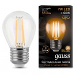Лампа Gauss LED Filament Шар E27 7W 550lm 2700K step dimmable (105802107)