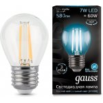 Лампа Gauss LED Filament Шар E27 7W 580lm 4100K step dimmable (105802207)