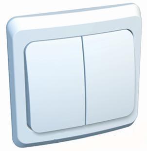 Lexel Этюд Двухклавишный выключатель (СХ. 5) белый (скр.устан.) (BC10-002b)Белый<br><br><br>Оттенок (цвет): белый