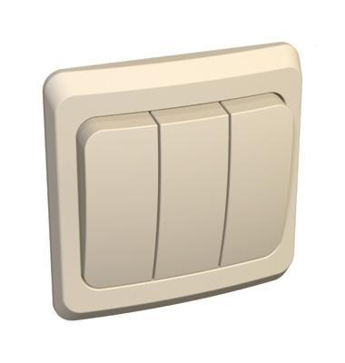 Lexel Этюд выключатель трехклавишный кремовый (скр.устан.) (BC10-003k)Крем<br><br><br>Оттенок (цвет): бежевый